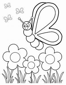Desenho de Borboleta entre flores no jardim para colorir ...