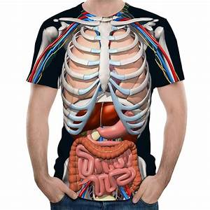 2018 New Fashion Male Skeleton Internal Organs 3d Printed Round Neck Short Sleeved T Shirt Anime