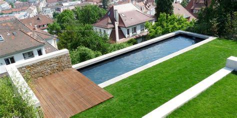 schmaler pool  hang haus und gartengestaltung