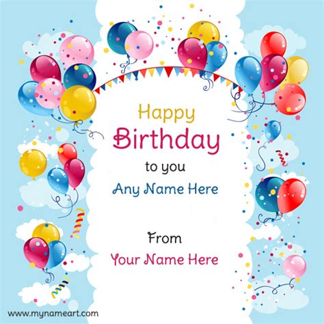 write   realistic balloons design birthday wishes card