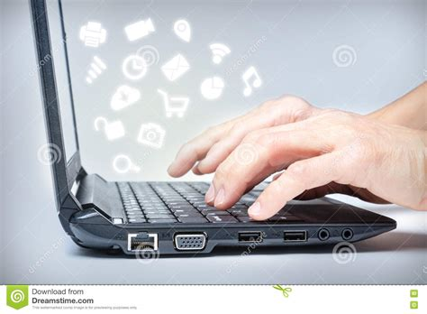 Multitasking On Laptop With Media Icons Stock Image