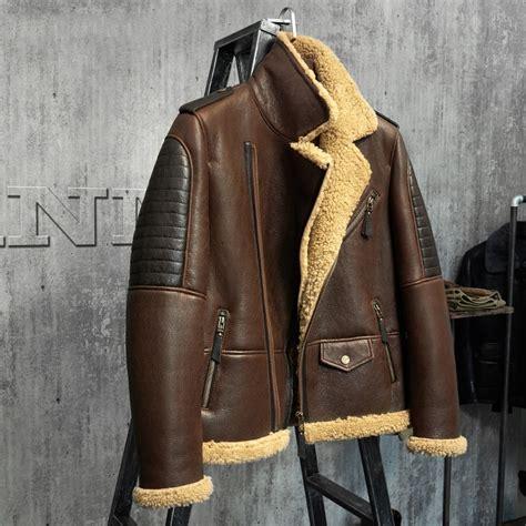 dark brown  jacket mens shearling leather jacket