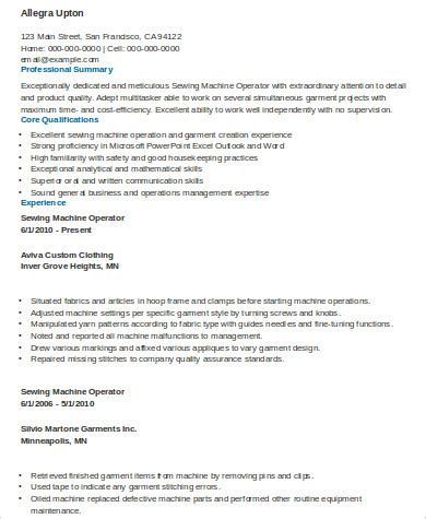 resume for embroidery machine operator 28 images