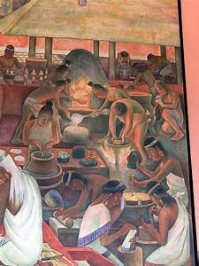 Diego Rivera. Mural showing Aztec production of gold ...