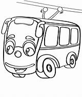 Coloring Pages Trolleybus Trolley Bus Taxi Tram Print sketch template