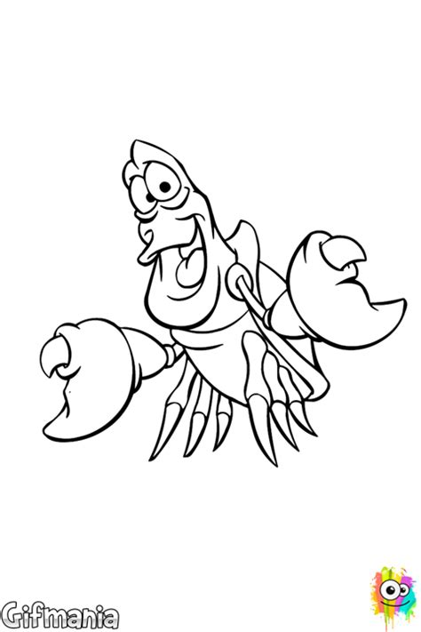 Sebastian crab coloring page | Little mermaid drawings