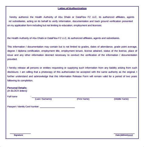 letter  authorization form  samples examples format