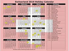 Switzerland 2019 2020 Holiday Calendar