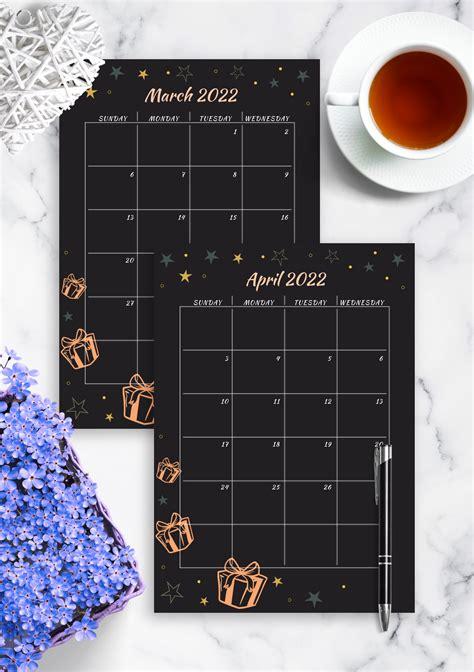 printable black monthly birthday calendar