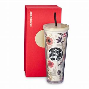 A 24-fl oz acrylic Cold Cup with a beautiful floral design ...