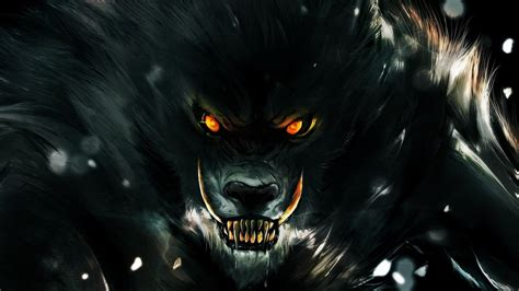 Orange Eye Wallpaper by Digital Animals Wolf Werewolves Fangs