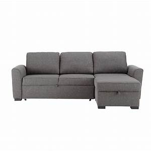 Canape d39angle convertible 3 4 places en tissu gris for Canape d4angle convertible