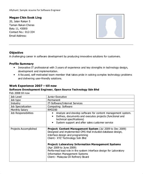 Resume Of An Experienced Software Engineer by Sle Software Engineer Resume 8 Exles In Word Pdf