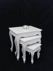 Beistelltische Weiß : 3er set beistelltische massivholz in wei gl nzend tische ~ Pilothousefishingboats.com Haus und Dekorationen