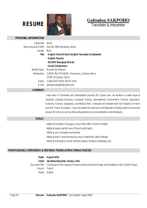 Interpreter Resume by My Translator Interpreter Resume