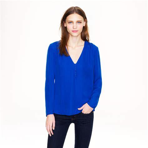 jcrew blouses j crew silk georgette blouse in blue riviera lyst