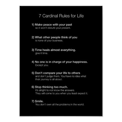 7 Cardinal Rules For Life Poster Zazzlecom