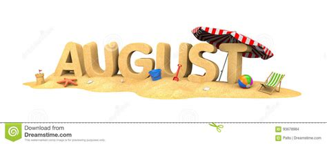 AUGUST- word of sand stock illustration. Illustration of ...