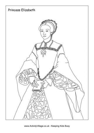 tudor kings  queens colouring pages