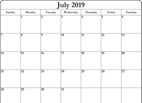 blank july calendar printable file