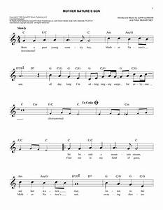 Mother Nature's Son chords by The Beatles (Melody Line ...