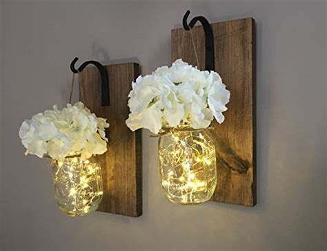 Rustic Hanging Mason Jar Sconces With Led Fairy Lights