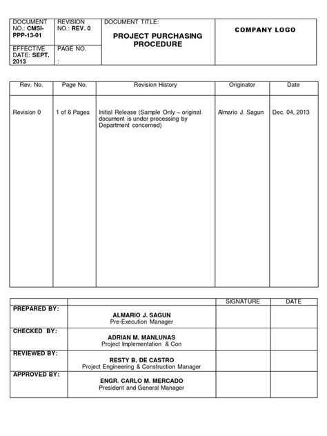 Project Purchasing Procedure | Specification (Technical