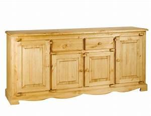 Meuble Bas Bois : meuble bas rustique en pin 4 portes 2 tiroirs avec charni res bois grenier alpin ~ Teatrodelosmanantiales.com Idées de Décoration