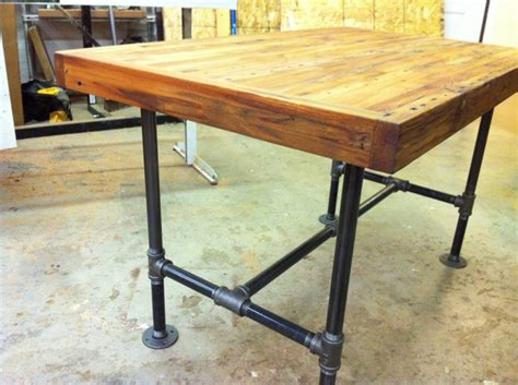 butcher block pipe table oasis amor fashion