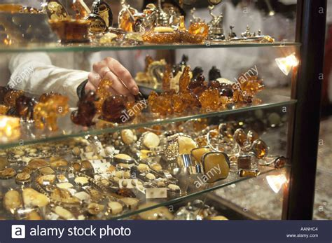 Amber jewellery for sale at a shop in Sukiennice arcade