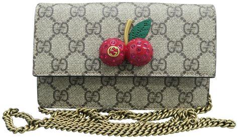 gucci gg supreme mini cherry satchel grey canvas shoulder bag tradesy