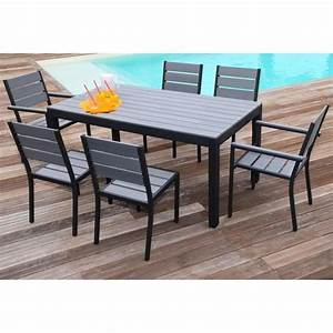 Table De Jardin Et Chaises : floride ensemble table de jardin 160 cm 2 fauteuils 4 chaises aluminium et polywood gris ~ Teatrodelosmanantiales.com Idées de Décoration