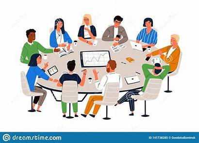 Table Round Office Negotiation Meeting Exchanging Business