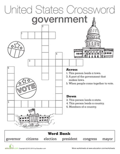 social studies worksheets on government government crossword worksheets social studies and school