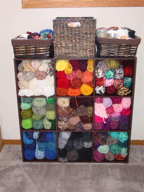 easy  affordable yarn storage idea wooden storage