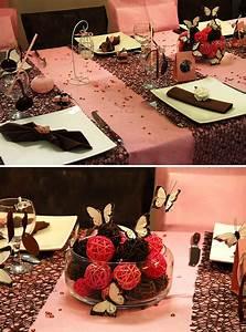 Centre De Table Chocolat : d coration de table rose et chocolat d co anniversaire ~ Zukunftsfamilie.com Idées de Décoration