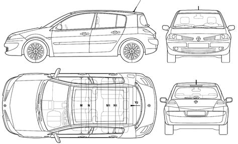 2006 renault megane ii 5 door hatchback blueprints free outlines