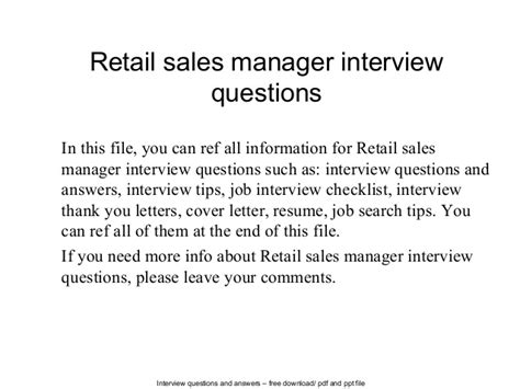 Retail Questions by Retail Sales Manager Questions