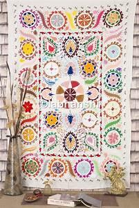 Tissus Decoration Murale : ouzb kistan suzani lit tui rabat motif floral brod couvre lit double antique tissu ~ Nature-et-papiers.com Idées de Décoration