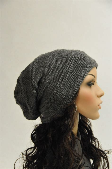 woolen knitted hat knit slouchy hat charcoal grey wool hat ready to ship