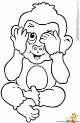 Monkey Coloring Pages Baby sketch template
