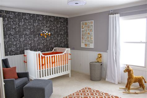 orange gray  white nursery room project nursery