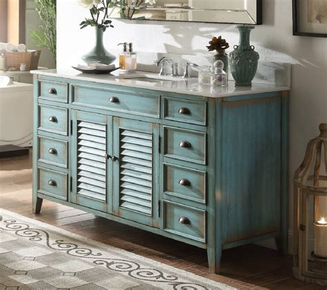 60 Inch Bathroom Vanity Cottage Beach Style Distressed