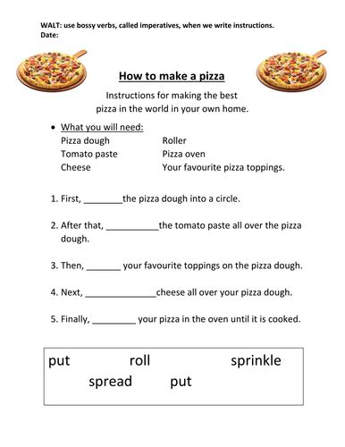 pizza instructions worksheets eal teaching
