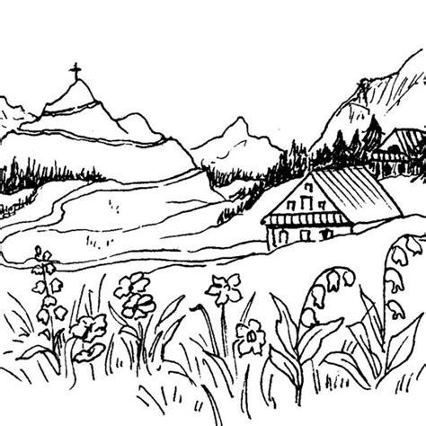 coloriage paysage de montagne dessin gratuit 224 imprimer