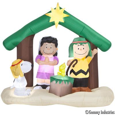 gemmy christmas preview peanuts nativity airblown