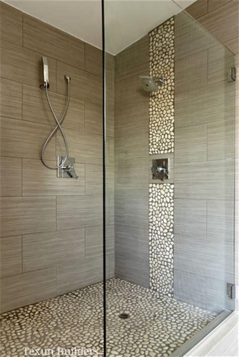 master walk  shower modern bathroom love  river rock