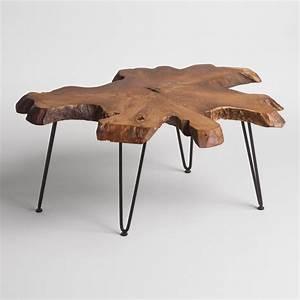 wood slice coffee table world market With teak slice coffee table