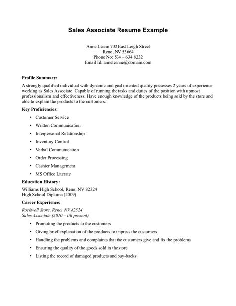 Exle Resume For Sales Associate by Objective For Resume Sales Associate Writing Resume