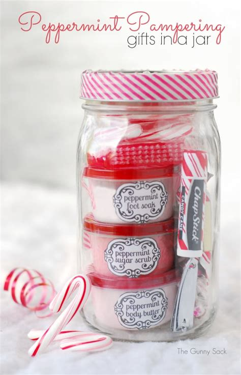 peppermint pering gifts in jars for homemade christmas